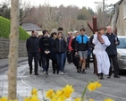 The Ecumenical Way of the Cross proceeds into Enniskerry Village en route from St Mary's Church to St Patrick's Church, Powerscourt.