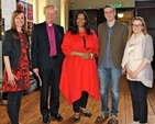 Dr Iva Beranek (CMHI), Bishop Patrick Rooke (Chairman of CMHI), Lisa Sharon Harper (speaker), Richard Ryan (Bookwell) and Jessica Stone (CMHI) at the Church's Ministry of Healing talk in Christ Church Cathedral.