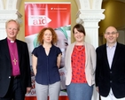 Chairman of Bishops' Appeal Bishop Patrick Rooke, Róisín Gallagher of Christian Aid, Lydia Monds of Bishops' Appeal and Peter Byrne of Christian Aid at the Christian Aid Gender Justice Workshop in the Church of Ireland Theological Institute.