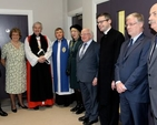Alleyn Manley, chairman of the building committee; Sandra Moore, centre manager and glebe warden; the Archbishop of Dublin, the Most Revd Dr Michael Jackson, Nigel Pierpoint, diocesan reader; Mrs Sabina Higgins, President Michael D Higgins; the Rector, the Revd Niall Sloane; Lucian Anton, builder; and architect Peter Roberts at the official opening of the refurbished Carry Centre at Holy Trinity, Killiney.