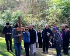 Participants in the Ecumenical Way of the Cross in Enniskerry arrive at St Patrick's Church, Powerscourt, having started at St Mary's Church.